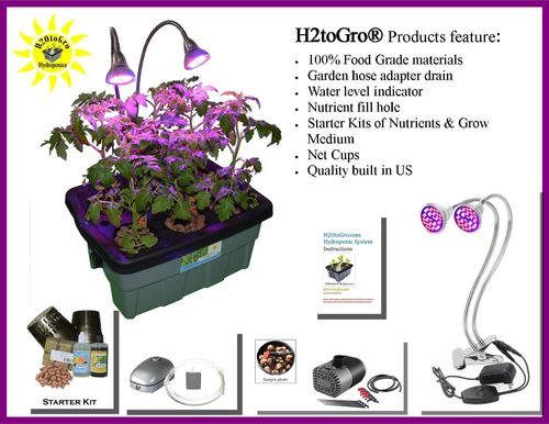 # 04 DWC Self-watering Bubbler Hydroponic Kit w/ 60W Grow Light